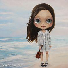 Nerea Pozo: Ukelele Girl 1  Oil on Canvas 3D 40 x 40 cm 2013