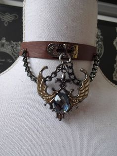 Crystal Angel wings Choker  , brown faux leather chain choker necklace - punk, gothic, lolita by MetalmanEd on Etsy