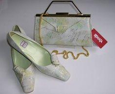 Renata Mother Bride Shoes Matching Bag Pale Green Gold 6 5