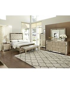 Ailey Bedroom Furniture Collection - Mirrored Furniture ...
