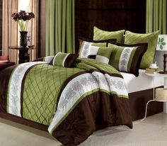 Gracious pinktuck and Embroidered pieced comforter set. Soft Sage and Brown tones will compliment any décor while adding old world charm with this traditional look. This lavish comforter set comes with everything you need to do a complete makeover for your master or guest suite. #LuxBed #ChicHome #Brown #Sage #Green #Bedding #Comforter. #Queen #King