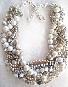Chunky Pearl Rhinestone Necklace White Bridal Statement Champagne Pearls Wedding Jewelry Vintage Milk Glass Tom Binns Inspired