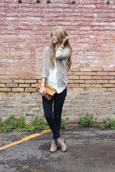Madewell top, Forever 21 cardigan, Madewell jeans, Sam Edelman Petty boots, clutch c/o DAAME