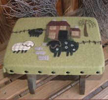 Ole Farmstead Wool Applique Footstool