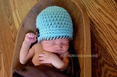 Newborn Baby Boy Beanie/Hat/CapMy L'il Man Hat in by YarnyThingys, $15.00