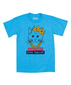 Heather Turquoise 'Meow Money Meow Problems' Tee - Toddler & Kids by LC Trendz #zulily #zulilyfinds