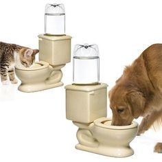 Doggy Toilet Water Bowl Flushes Away Your Pet's Thirst ... #pets #animals ... PetsLady.com