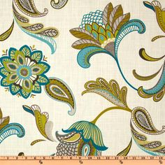 Covington Savannah Paisley Surf from @fabricdotcom  Screen printed on cotton this medium weight fabric is very versatile. This fabric is perfect for window treatments (draperies, valances, curtains, and swags), bed skirts, duvet covers, pillow shams, accent pillows, tote bags, aprons, slipcovers and upholstery. Colors include slate, charcoal, citrine, teal and turquoise on an ivory background.