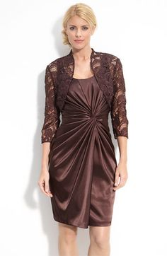Adrianna Papell Stretch Satin Dress with Lace Bolero available at #Nordstrom not avail out of stock check back later