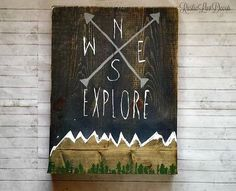 Sale Explore Rustic Wood Compass Sign Mountain by RusticLuvDecor
