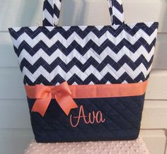 Navy Chevron / Zig Zag Quilted Purse / Tote / by MsSewItAll32, $45.00