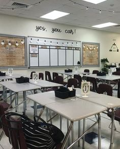 Classroom - I absolutely love it! It took a lot of time and cutting and thinking and buying. It also required a lot of helping hands for whi. Classroom Layout, Classroom Design, Classroom Themes, History Classroom Decorations, Classroom Color Scheme, Decorating High School Classroom, Classroom Organization, Highschool Classroom Decor, Teacher Desk Decorations