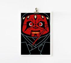 Star wars Darth Maul 5x7 art print by loopzart on Etsy, $8.00