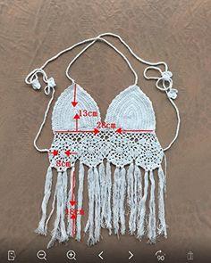 Sweet Melody Crochet Floral Bikini Halter Crop Top Bra Swimwear Summr Beachwear Fringe Swimsuit at Amazon Women's Clothing store:
