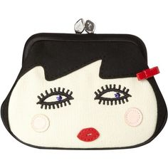 Doll Face small satin coin purse (115 BAM) ❤ liked on Polyvore featuring bags, borse, clutches, accessories, purses, frame purses, purses & keyrings, lulu guinness, satin bags and lulu guinness bag