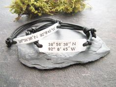 Couple Matching bracelets, Coordinates bracelets set, Gift for couples, Boyfriend and Girlfriend gift, Set of 2 bracelets, Anniversary gift by PawlowskiCreations on Etsy Bracelets With Meaning, Friend Bracelets, Couple Bracelets, Wish Bracelets, Bracelets For Men, Friendship Bracelets, Washer Bracelet, Bracelet Set, Girlfriend Anniversary Gifts