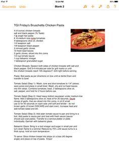 TGI Fridays bruschetta chicken pasta