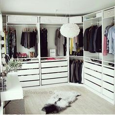 Master Walk in Closets & Organized Closet Space. Ikea Pax Wardrobe, Ikea Closet, Bedroom Wardrobe, Wardrobe Closet, Closet Space, Walk In Closet Design, Closet Designs, Ideas Armario, Closet Vanity