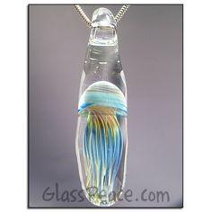 Jellyfish Glass Pendant boro lampwork focal bead by Glass Peace $28.00