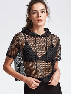 Online shopping for Black Drop Shoulder Crop Fishnet Hooded T-shirt from a great selection of women's fashion clothing & more at MakeMeChic.COM.