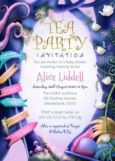Shop Alice in Wonderland, gold glitter, baby shower Invitation created by LandofWhimsy. Personalize it with photos & text or purchase as is! Tea Party Invitations, Custom Invitations, Baby Shower Invitations, Tea Party Baby Shower, Baby Shower Themes, Shower Ideas, Colored Envelopes, White Envelopes, Envelope Liners