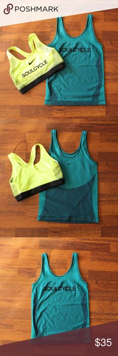 Bundle Soulcycle Nike dri fit sports bra & tank M Green Blue Nike dri fit knit tank. Cute fabric and color, which my camera has a hard time capturing. Size Medium.  Highlighter yellow Nike dri fit sports bra with black crisscross detailing. Size medium. Nike Tops Tank Tops