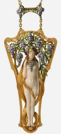An Art Nouveau pendant by Georges Le Saché. Pendant and chain in 18ct yellow gold, set with a carved ivory figure of a nymph with flowing yellow gold hair surrounded by enamelled Wisteria within a border of yellow gold scrolls.