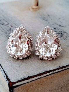 Clear white Swarovski crystal stud earrings, Bridal earrings, Bridesmaids gifts, teardrop studs, Silver earrings, Vintage earrings, Estate by EldorTinaJewelry on Etsy https://www.etsy.com/listing/185523071/clear-white-swarovski-crystal-stud