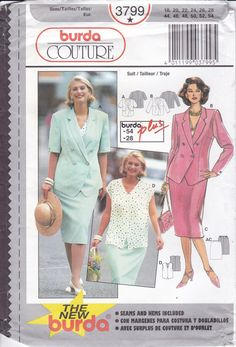FREE US SHIP Burda 3799 Sewing Pattern Top Jacket Blouse Size 18 20 22 24 26 28 Bust 40 42 44 46 48 50 plus size Uncut Factory Folded by LanetzLiving on Etsy
