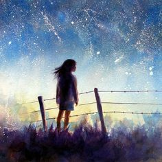 Starry Night Sky Watercolor Painting Print by AlisaPaints