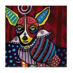 Chihuahua Art Tile Ceramic Coaster Print of painting by Heather Galler dog Gift