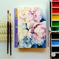 Yay! Finally finished this last night  This is going to be a start of a new series, I'm playing around with mostly zoomed in peonies  #calligrafikas #grafikas #dreweuropeo #illustration #watercolor...