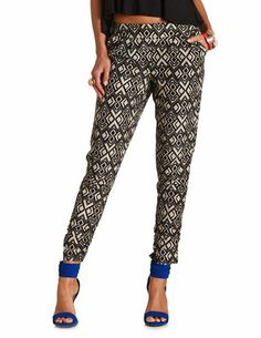 Tribal Print Pleated Jogger Pants: Charlotte Russe Jogger Pants, Joggers, Printed Trousers, Diy Clothes, Jeggings, Passion For Fashion, Dress To Impress, Charlotte Russe, Autumn Fashion