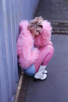 Love this pink fur jacket, and everything its been styled with. Suits the model perfectly