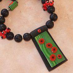 Red Poppy Pendant Coral Black Lava Necklace Handmade One of a Kind