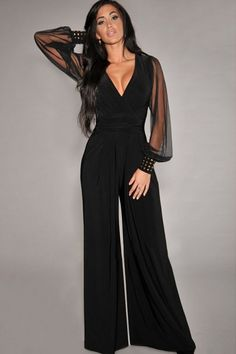 Black Chic Ladies Wide-leg V Neck Long Sleeve See Sheer Jumpsuit - PINK QUEEN