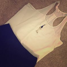Frenchi Tank  White tank by Frenchi purchased from Nordstrom. Racer back 97% polyester 3% spandex. NWOT ❌no trades❌ Frenchi Tops Tank Tops
