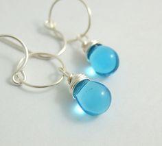Earrings with Aqua Blue Glass Teardrops Wire by jewelrybyroz