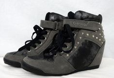 G By Guess Raurie Stud Glitter Wedge High Top Sneakers Lace Up Velcro sz Wedge High Tops, Shoe Boots, Shoes, High Top Sneakers, Lace Up, Glitter, Wedges, Sandals, How To Wear