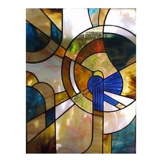 Art Deco and Abstract Stained Glass ❤ liked on Polyvore featuring home, home decor, art and art deco