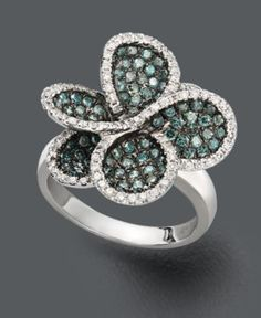 Bella Bleu by Effy Collection Diamond Ring, 14k White Gold Blue and White Diamond Pave Flower Ring