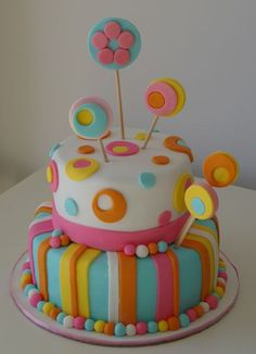 by paulahennig Pretty Cakes, Cute Cakes, Fondant Cake Designs, Cake Fondant, 50th Cake, Girly Cakes, Butterfly Cakes, Painted Cakes, Colorful Cakes