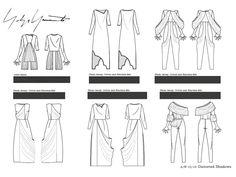 Year 2, Semester 2, Yohji Yamamoto project. Final flat drawing board 2
