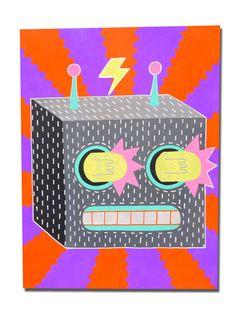 Malarky. £200.  http://www.beachlondon.co.uk/product/malarky-robot-bandit-2-acrylic-on-board
