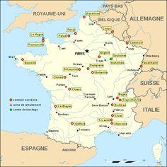 carte de France des usines nucléaires, centrales et sites de stockage