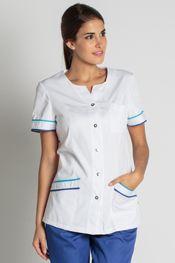 White Nurse Uniform with Metro Blue Trim Healthcare Uniforms, Medical Uniforms, Nursing Uniforms, Maternity Tunic, African Fashion, Scrubs, Work Wear, Men Casual, Female