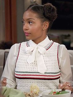 Zoey's striped crochet top and white blouse on Black-ish. Outfit Details: https://wornontv.net/60043/ #Blackish