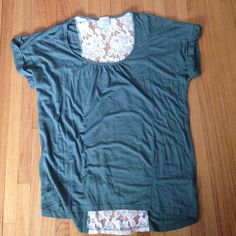 Ella Moss knit top. Ladies Ella Moss knit sage green short sleeve roll tab sleeve with cream  lace insert in the back. Very cute top! Ella Moss Tops Tees - Short Sleeve