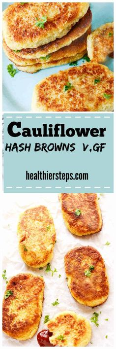 These healthy Gluten-Free Vegan Cauliflower Hash Browns are crisp on the outside and moist on the inside, so irresistible! Are you watching your weight and looking for low-carb healthy options? Healthy Recipes, Diet Recipes, Vegetarian Recipes, Diet Tips, Snacks Recipes, Vegan Snacks, Vegan Vegetarian, Healthy Foods, Diet Ideas