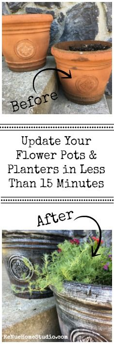 Update your Flower Pots and Planters in Less Than 15 Minutes with 2 easy Faux Painting Techniques.  Garden Flower Pots Paint Chalk Paint Spray Paint Latex Acrylic Craft DIY HGTV Fixer Upper Do It Your Self DIY Spring Summer Flowers Mexican Heather Zinnia Lantana Impatients Vinca Front Porch Deck Landscape Home Decor Front Door